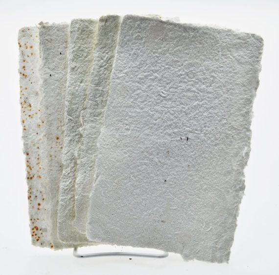 White Variety Pack of Handmade paper 6 sheets of 5 1/2 x 9