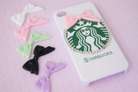 Starbucks Inspired Hard Iphone 4 4s with Bowtie and Rhinestones Cell Phone Case on Etsy, $19.99