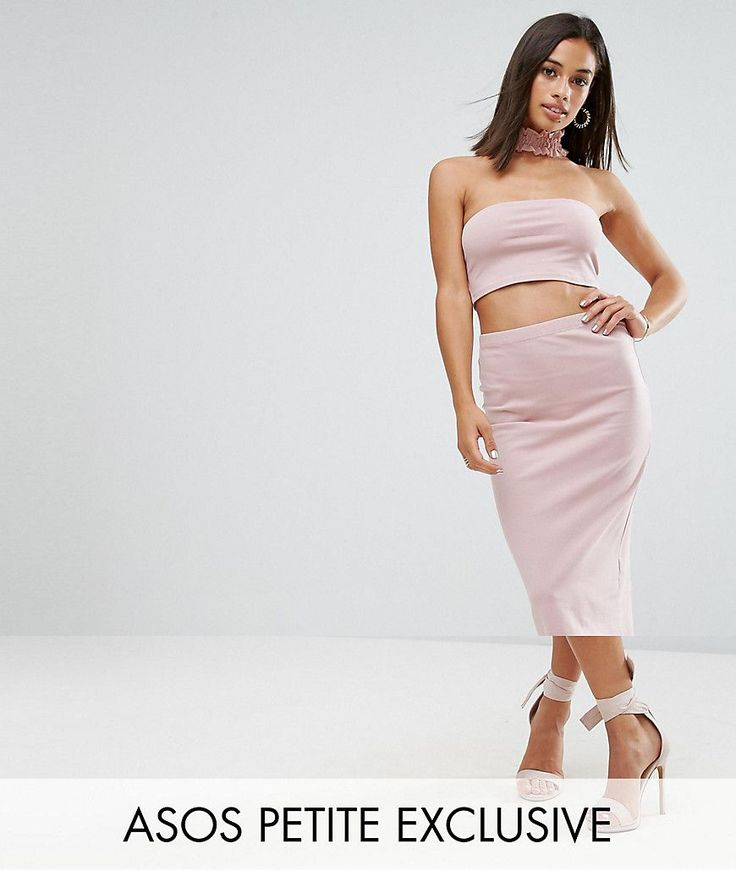 ASOS PETITE Jersey Midi Pencil Skirt Co-ord - Pink