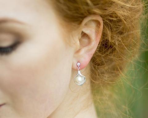 Silver Leaf & Pearl Earrings, Silver Forest 4