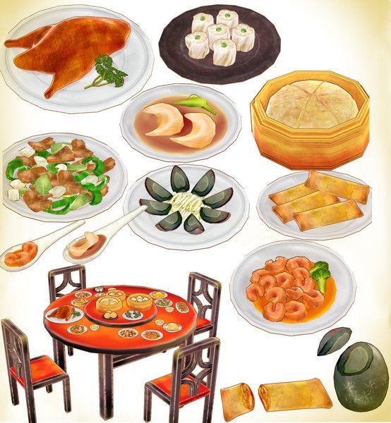 エビチリ、シューマイ、ピータン、フカヒレスープ、マーラーカオ、回鍋肉、春巻、北京ダックなどの中華料理と円卓と椅子のセット。 椅子と机はボーンで高さ調整できます。 配布はこちら https://bowlroll.net/file/9