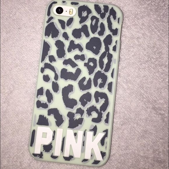 Victorious Secret Pink iPhone 5/5s case Lepord Print, sea foam green, iPhone 5/5s case from Victorious secret pink! Has proof that it's from victorious secret and it's not off brand because it has it engraved into inside of case PINK Victoria's Secret Accessories Phone Cases