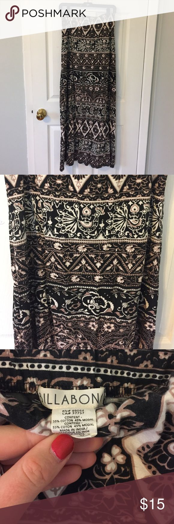 Billabong Tribal Maxi Skirt Size L Great condition. Maxi skirt with tribal pattern. Size Large. Elastic waist band. Billabong Skirts Maxi