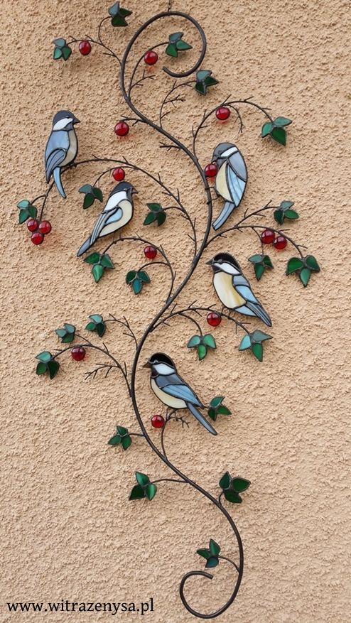 stained glass, birds on a branch