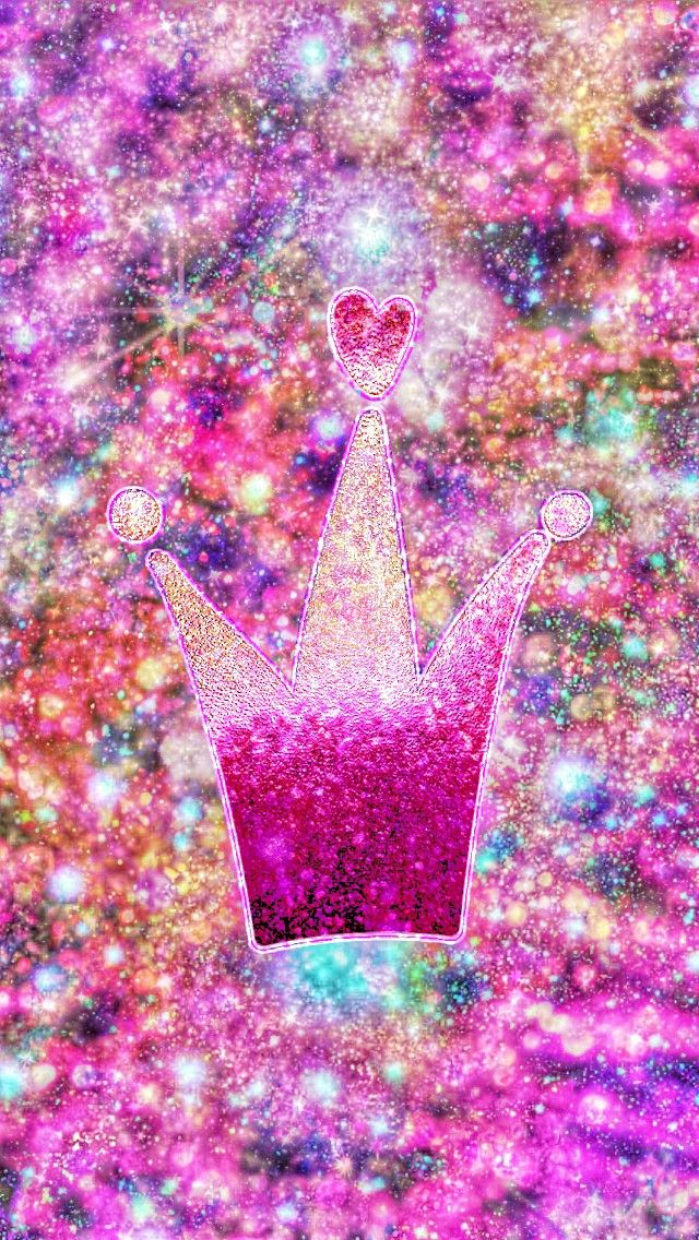 Galaxy Princess Crown Made By Me Pink Girly Glitter Sparkles Galaxy Wallpapers Backgrounds A Crown Background Mobile Legend Wallpaper Cute Lockscreens