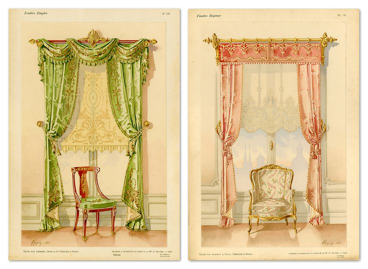 A pair of fine-art reproduction prints taken from a French window dressing catalogue produced at the turn of the last century.