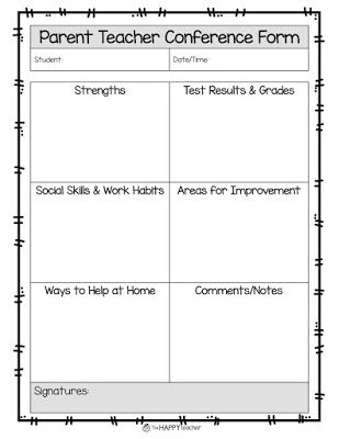 Parent Teacher Conference Form to inform parents about student's progress, strengths, test results, work habits, behavior