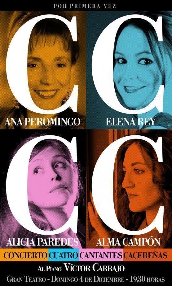 Concierto. Cuatro Cantantes Cacereñas en Cáceres Domingo, 04 dic 2016. 19:30h Gran Teatro Cáceres http://www.apartamentoturisticomontesol.com/actividades-5/cuatro-cantantes-cacerenas-89