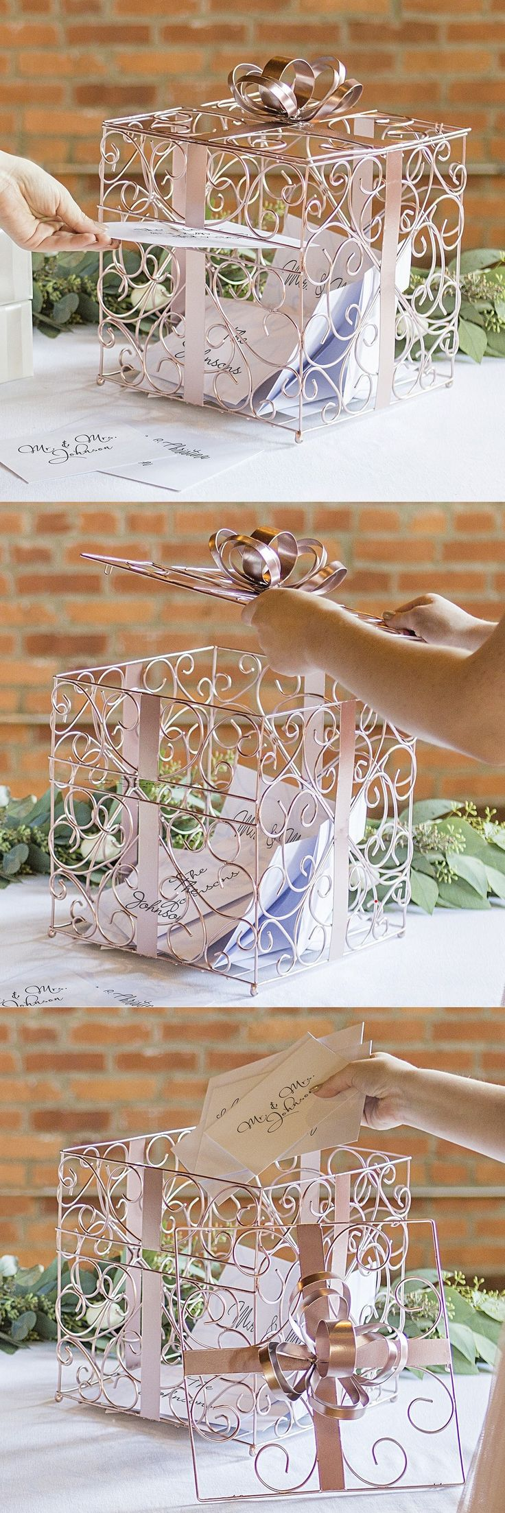 Wedding Gift Card Box Idea - This rose gold scrolled metal wire gift card box looks like a wrapped gift complete with bow on top. The newlyweds can use it to decorate their home after the wedding.