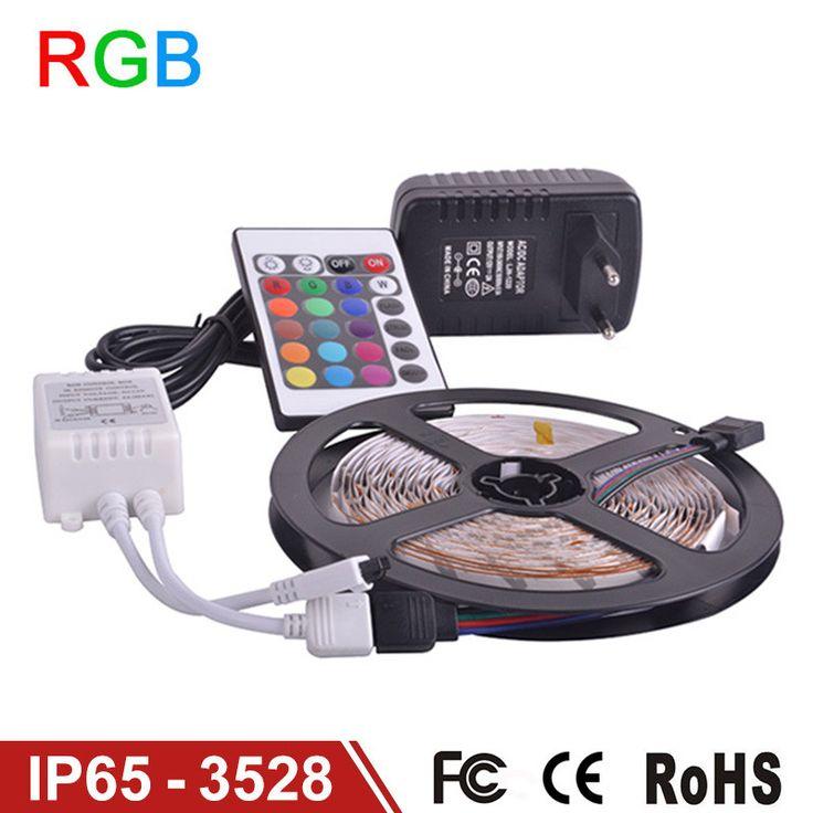 Waterproof LED RGB strip light SMD3528 IP65 Fiexble Light 60LED/M 5M DC 12V Adapter Power 2A shipping RGB strip lamp bulb