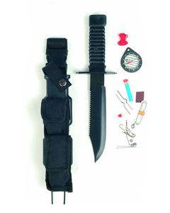 Lemmetlengte: 18,5 cm Totale lengte: 31 cm  Survival mes met een uitgebreide Survival Equipment - Compass - Handzaag - lucifers - Schuurpapier - haak - Lijn - Naalden...