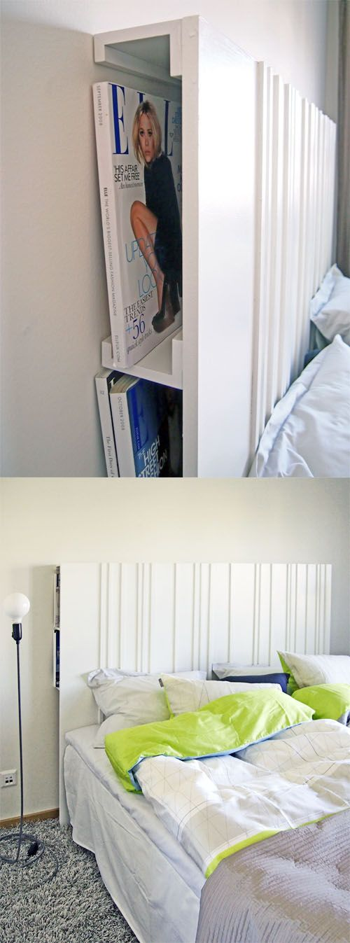 Headboard with RIBBA picture ledges