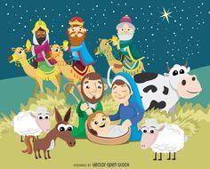 Natividad de la Navidad escena del nacimiento de Jesucristo - Vector Gratis