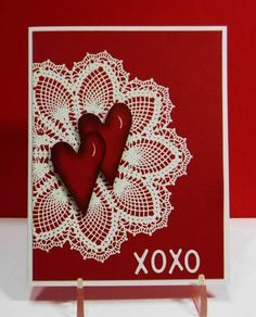 Joined Hearts--hello doily Paper: cherry cobbler, white Ink: cherry cobbler, versafine Accessories: white embossing powder,heart punch sizzix letters, gel pen
