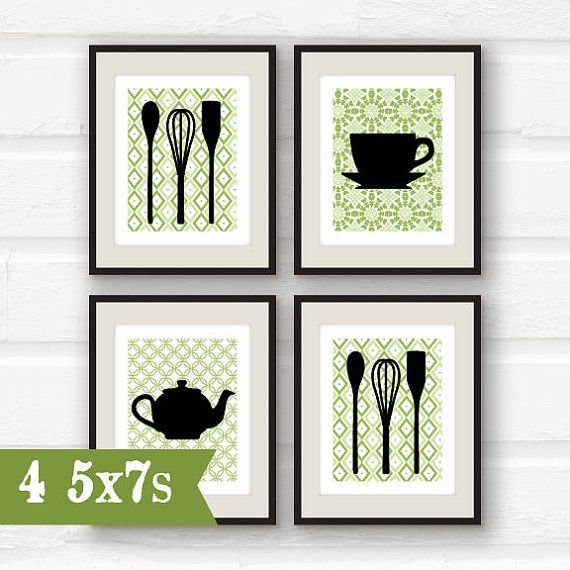 Set Of 4   Kitchen Decor   Utensil Decor   Green Kitchen Art   Fork,