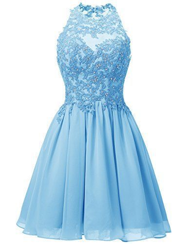 Blue Homecoming Dress,Lace Beaded Prom Dress,Custom Made Evening Dress,17303