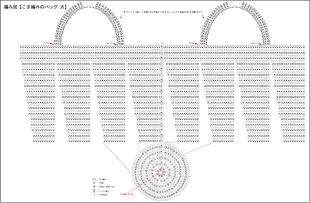 バッグ(こま編み・大きいサイズ)の無料編み図