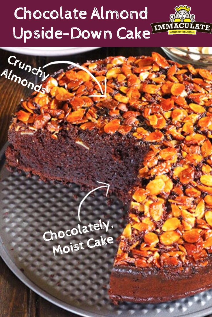 Decadent, rich, moist chocolate cake covered in crunchy almonds! This Chocolate Almond Upside-Down Cake is all you need to satisfy your chocolatey sweet tooth.