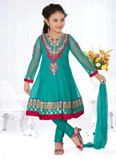 Turquoise Net Readymade Kids Salwar Kameez for Rosie
