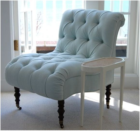 blue tufted chair