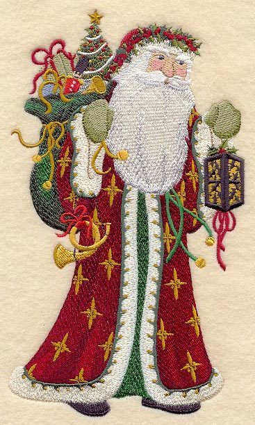 Embroidered Victorian santa with lantern quilt block, christmas cushion panel