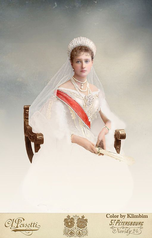 The Romanovs. Empress Alexandra Feodorovna of Russia in her court dress.
