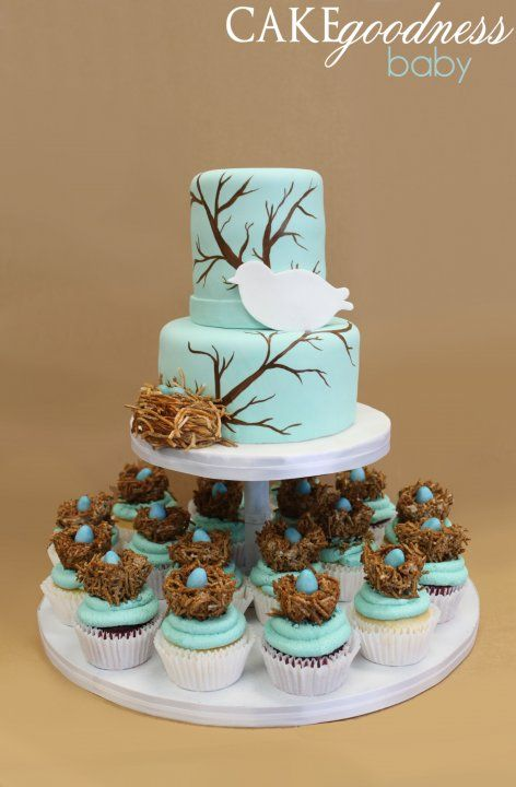 Bird on a branch baby shower cake in Robin's egg blue with bird's nest cupcakes.  TOO CUTE