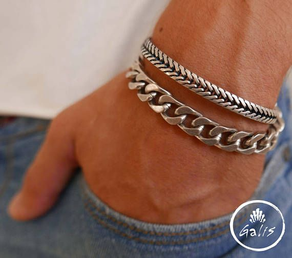 Men's Bracelet Set - Men's Chain Bracelet - Men's Silver Bracelet - Men's Cuff Bracelet - Men's Jewelry - Men's Gift - Present For Men  The simple and beautiful bracelet set combines 2 Beautiful bracelet made of blackend silver plated brass. $42.9