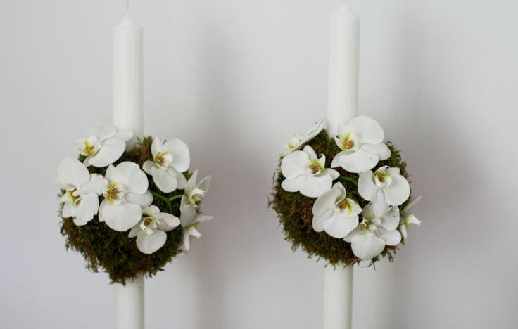 Lumanari nunta, phalaenopsis si muschi https://www.facebook.com/FlowersByAna