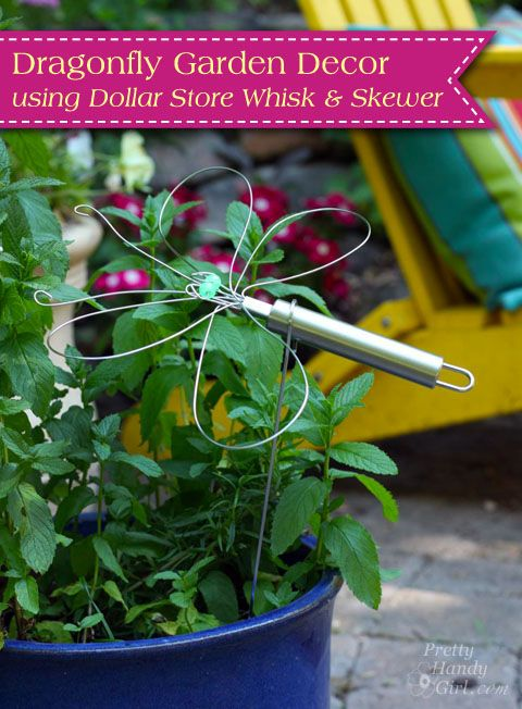 Dragonfly Garden Decor using a Dollar Store Whisk and Skewer |