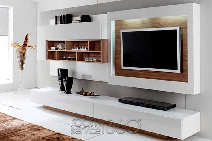 Gallery 05 entertainment center in white lacquer and american walnut by milmueble home is - Modern entertainment wall unit ...