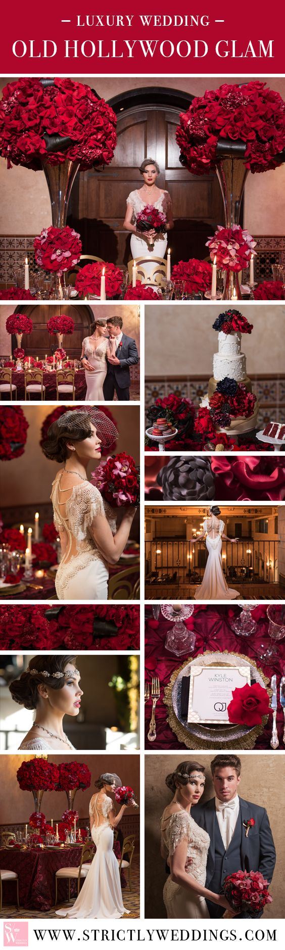 Step back in time with old Hollywood glamour. Dripping in red roses, ornate details and all the glitz and glam of one stylish Galia Lahav gown. #luxurywedding #oldhollywood More