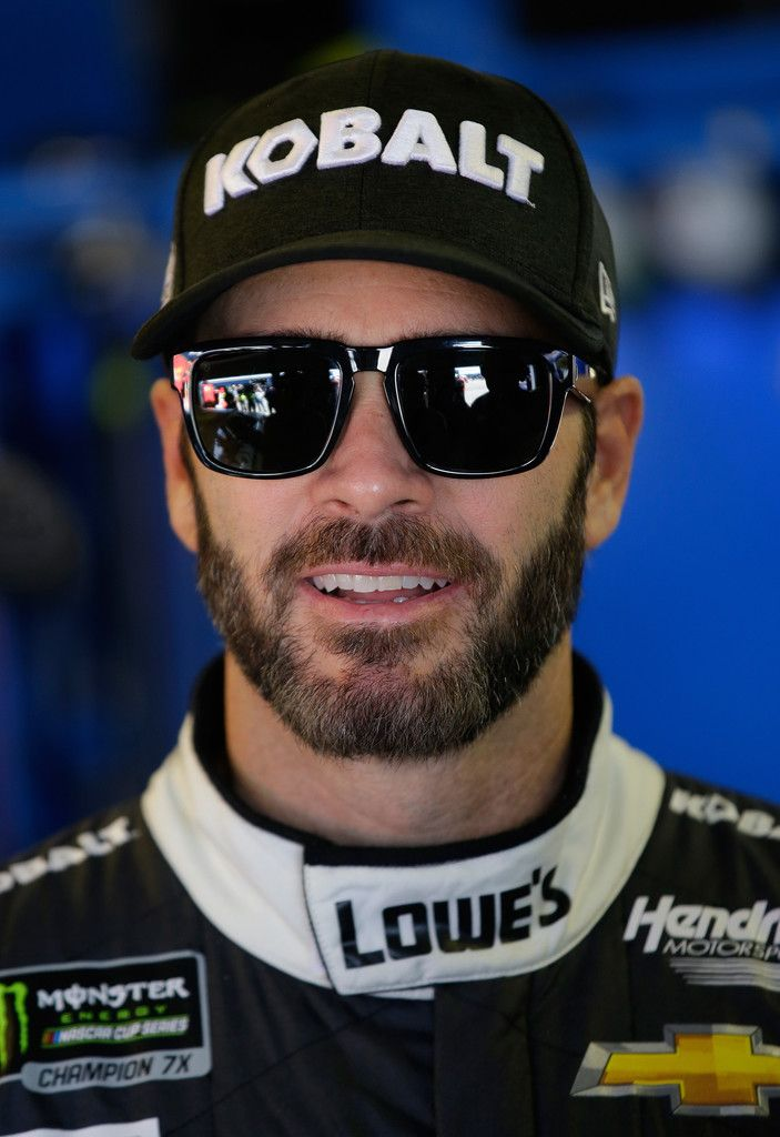 Jimmie Johnson Photos Photos - Jimmie Johnson, driver of the #48 Lowe's Chevrolet, looks on from the garage during practice for the Monster Energy NASCAR Cup Series FireKeepers Casino 400 at Michigan International Speedway on June 16, 2017 in Brooklyn, Michigan. - Michigan International Speedway - Day 1