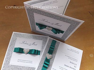 Luxury Wedding Invitation With Silver Glitter And Jade Green Ribbon By  Bubbly Creations