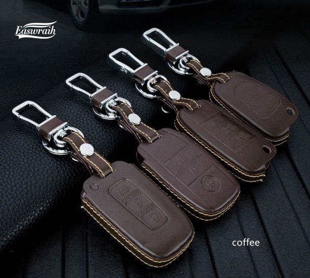 Leather Key Holder Case Cover 3 Button For KIA All New Sportae 2017+