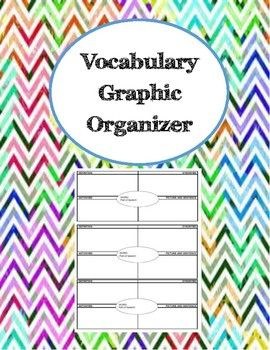Graphic organizer to identify definition, part of speech, synonyms, antonyms, examples, use it in a sentence, and draw a picture.