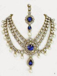 Golden Beads Three Layer Necklace Set Embellished With Shiny Blue & White Stones