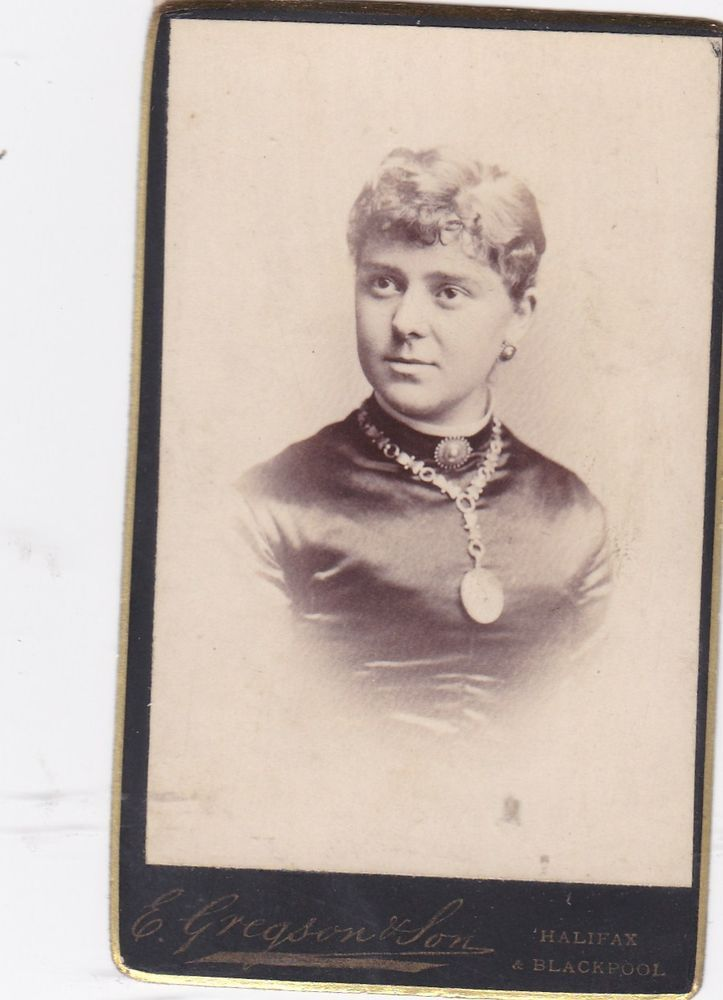 ANTIQUE CDV PHOTO. LADY WEARING CHAIN @ LOCKET ? HALIFAX/BLACKPOOL STUDIO | eBay