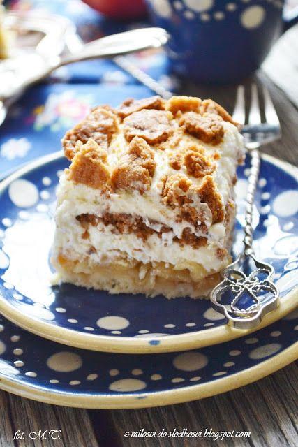Z miłości do słodkości...: Kruche ciasto z jabłkami i ze śmietaną według Sios...