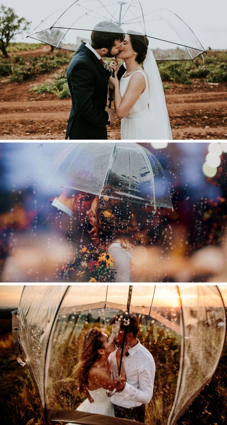 45 romantische Hochzeitsfotos im Regen