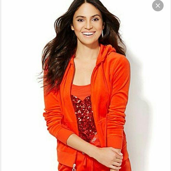 New York and Company Orange velour jacket Super soft, beautiful orange zip up jacket New York & Company Jackets & Coats
