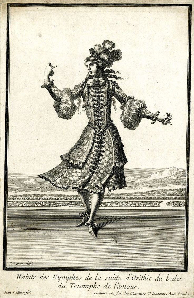 Habits des nymphes de la suite d'Orithie du balet du Triomphe de l'Amour. Costume by Jean Berain Père: a young woman wearing a feathered turban and embroidered jacket and skirt, dancing – c.1681.