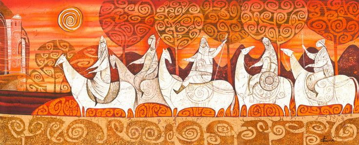 Horsemen. Return. original batik painting от IsmaArt на Etsy, $2300,00