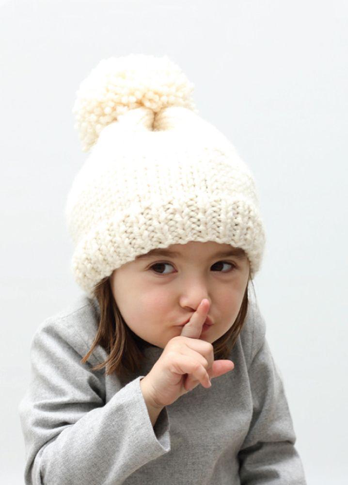 Hand knitted hat. In white Merino wool. #motoreta #kids AW14 #lookbook
