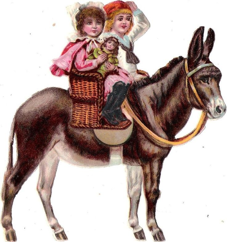 Oblaten Glanzbild scrap die cut chromo Kind child Esel donkey ane Puppe doll: