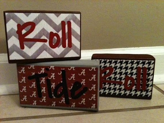 Alabama Roll Tide Roll Decorative Blocks  Set by IsbellCreations, $15.00