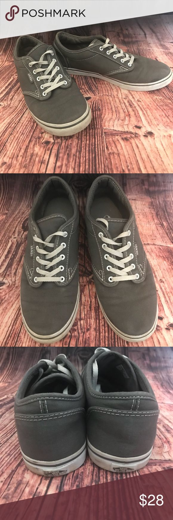 Vans classic authentic  grey sneakers Ladies grey classic authentic Vans with white full (long) laces. Size 7.5 in great used condition, they have lots of life left! No stains or damage, just usual wear with little dirt on while rubber sides that can be cleaned easily! 📦same or next day ship📦 Vans Shoes Sneakers