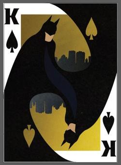 Forma e resolução da simetria invulgar e original. Representação de Batman.