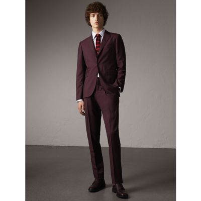 Slim Fit Wool Mohair Suit in Oxblood | Burberry