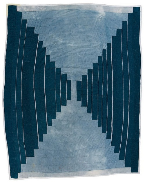 """The Quilts of Gee's Bend: Loretta Pettway (b. 1942), """"Logcabin"""" single-block """"Courthouse Steps"""" variation (local name: """"Bricklayer""""), ca. 1970, denim, 84 x 66 inches"""